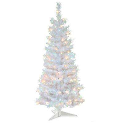 4 ft. White Iridescent Tinsel Artificial Christmas Tree with Clear Lights