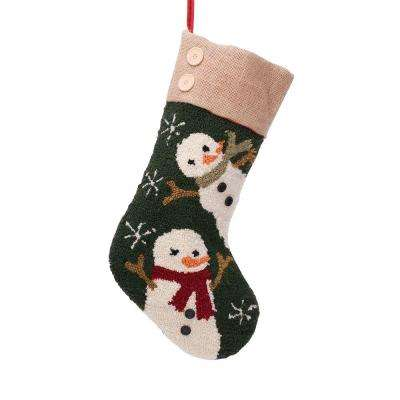 19.3 in. Polyester/Acrylic Hooked Christmas Stocking with Snowmen Image