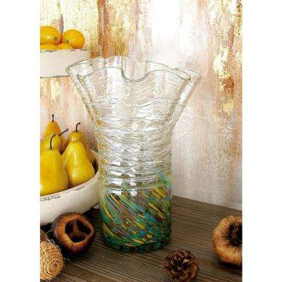 9 in. Gradated Soft Gray, Orange Swirl, Silver and Clear Glass Decorative Vase
