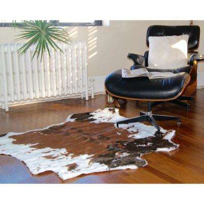 Faux Chocolate White 4. 25 ft. x 5 ft. Cowhide Rug/Throw