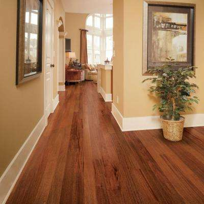 Hand Scraped Mahogany Natural 3/8 in. T x 5-3/4 in. W x Varying Length Click Lock Hardwood Flooring (22.68 sq. ft./case)