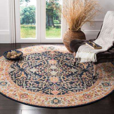 Madison Navy/Cream 5 ft. x 5 ft. Round Area Rug