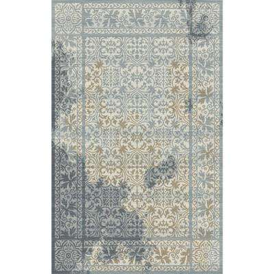 Royal Treasure Soft Blue/Mocha 5 ft. 3 in. x 7 ft. 7 in. Indoor Area Rug