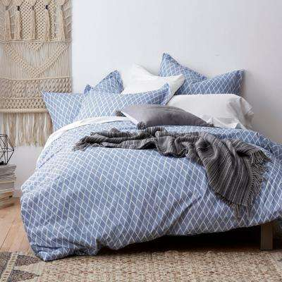 3-Piece Diamonds Organic Percale Duvet Cover Set