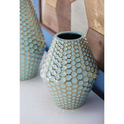 10 in. Rhombus Honeycomb Blue and Gold Ceramic Decorative Vase