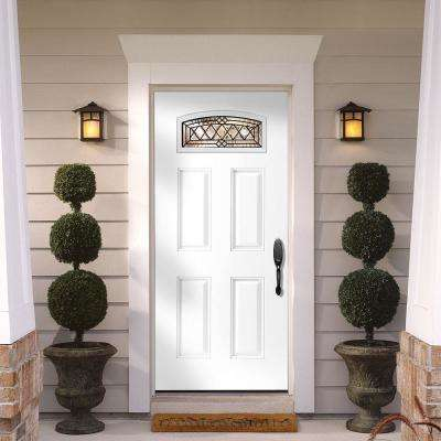 36 in. x 80 in. Halifax Camber Fan Left Hand Primed White Smooth Fiberglass Prehung Front Door w/ Brickmold, Vinyl Frame