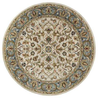 Mystic William Ivory 5 ft. 9 in. x 5 ft. 9 in. Round Area Rug