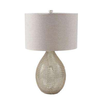 26 in. Chain Mail Mercury and Nickel Table Lamp