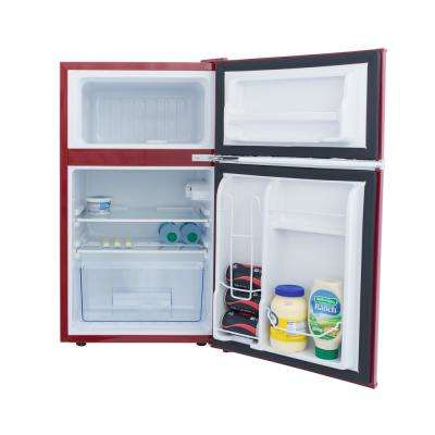 Retro 3.2 cu. ft. 2 Door Mini Fridge in Red