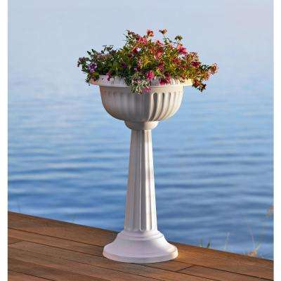 Grecian 32 in. Charcoal Plastic Urn Tall Pedestal Planter