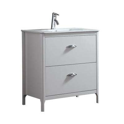Scarlett 32 in. W Vanity in White with Ceramic Vanity Top in White with White Basin