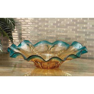 18 in. x 5 in. Amber and Aquamarine Crimpled Round Glass Dish