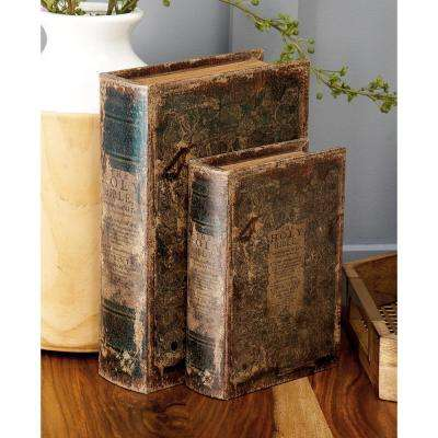 "Vintage Rectangular Wood and Faux Leather ""The Holy Bible"" Book Boxes (Set of 3)"