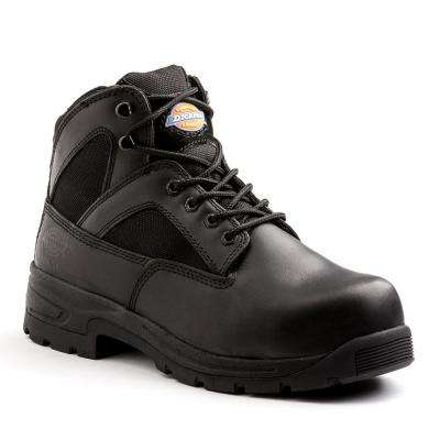 Buffer Men Black Leather Work Boot