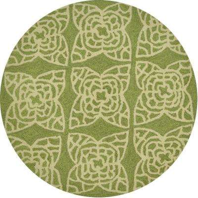 Summerton Lifestyle Collection Green/Ivory 3 ft. Round Area Rug