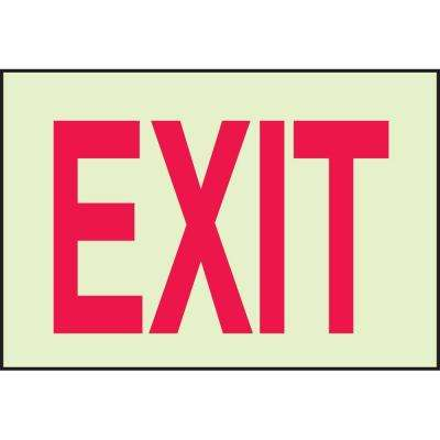 10 in. x 14 in. Glow-in-the-Dark Self-Stick Polyester Exit Sign