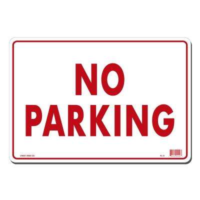14 in. x 10 in. Red on White Plastic No Parking Sign