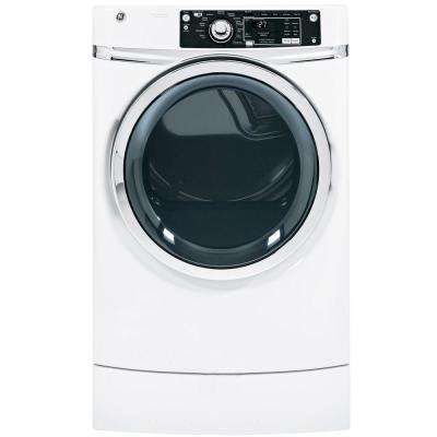 8.1 cu. ft. Right Height Front Load Gas Dryer with Steam in White, Pedestal Included