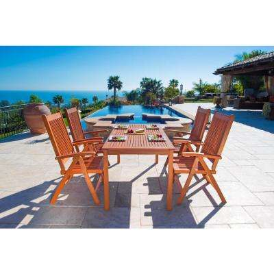 Balthazar Eucalyptus 5-Piece Patio Dining Set with Folding Armchairs