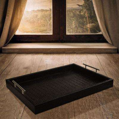 19 in. x 3 in. x 14 in. Alligator Black Leather and Polypropylene Rectangle Serving Tray with Metal Handles