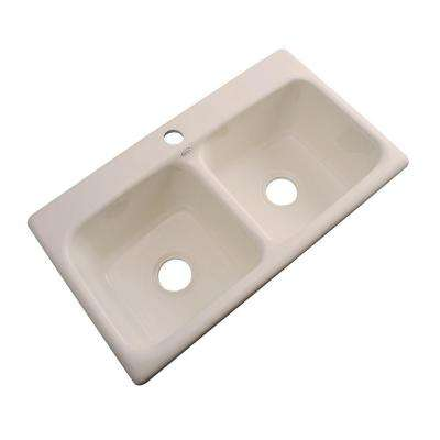 Brighton Drop-In Acrylic 33 in. 1-Hole Double Bowl Kitchen Sink in Candle Lyte