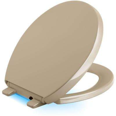 Reveal LED Nightlight Round Closed Front Toilet Seat in Mexican Sand