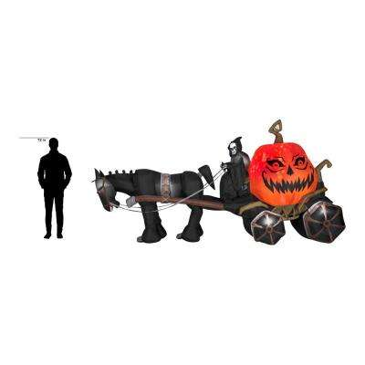 14 ft. Wide Projection Inflatable Fire Ice Grim Reaper, Carriage RRY