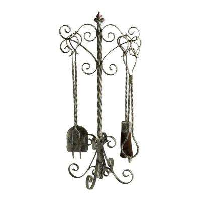 Prospect Distressed Antique White 4-Piece Fireplace Tool Set