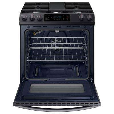 30 in. 6 cu. ft. Slide-In Gas Convection Range Oven in Fingerprint Resistant Black Stainless Steel