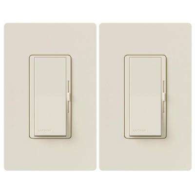 Diva C.L Dimmer for Dimmable LED, Halogen and Incandescent Bulbs, Single-Pole or 3-Way, Light Almond (2-Pack)