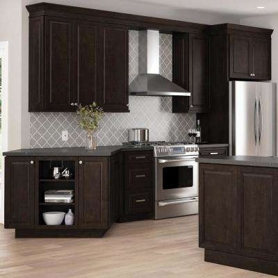 Gretna Assembled 18x34.5x23.75 in. Dual Pull Out Trash Can Base Kitchen Cabinet in Espresso