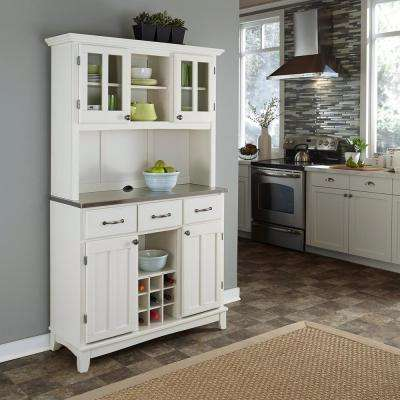 3-Drawer 44 in. W White Buffet with Stainless Top and Hutch