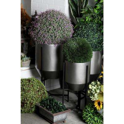 Brown and Silver Iron Tapered Round Planters with Stands (Set of 3)