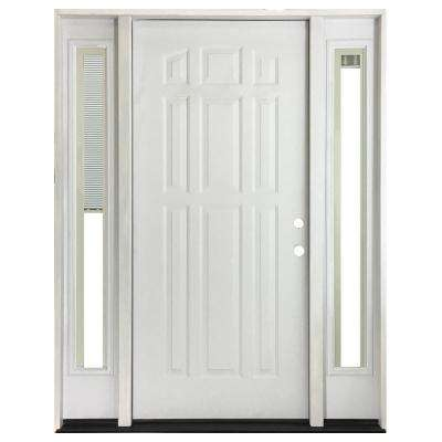 64 in. x 80 in. 9-Panel Primed White Left-Hand Steel Prehung Front Door with 12 in. Mini Blind Sidelites 4 in. Wall