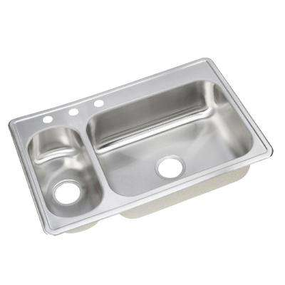 Dayton Elite Drop-In Stainless Steel 33 in. 3-Hole Double Bowl Kitchen Sink