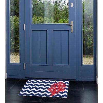 Chevron and Coral Multi-Colored 2 ft. x 3 ft. Area Rug