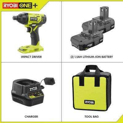 18-Volt ONE+ Lithium-Ion Cordless 1/4 in. Impact Driver Kit with (2) 1.5 Ah Batteries, Charger, and Bag