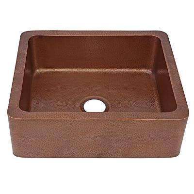 Monet Farmhouse Apron Front Handmade Pure Solid Copper 25 in. Single Bowl Kitchen Sink in Antique Copper