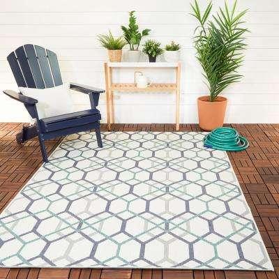 Geometric Links Cream 9 ft. x 12 ft. Indoor/Outdoor Area Rug