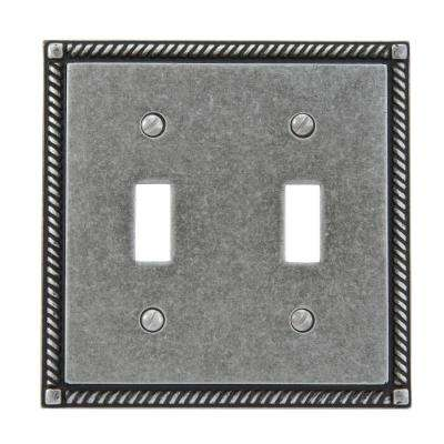 Georgian 2 Toggle Wall Plate - Antique Pewter