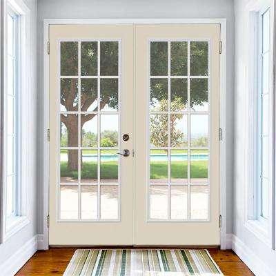 Prehung 15 Lite Steel Patio Door with Brickmold in Vinyl Frame