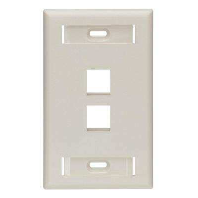 1-Gang Quickport Standard Size 2-Port Wallplate with ID Windows, Light Almond
