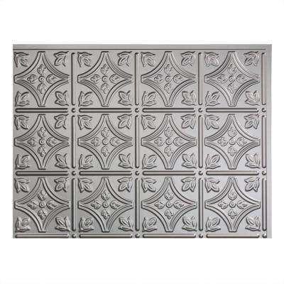 24 in. x 18 in. Traditional 1 PVC Decorative Backsplash Panel in Argent Silver