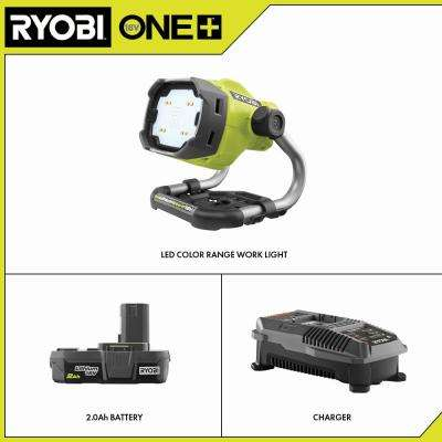 18-Volt ONE+ Lithium-Ion Hybrid LED Color Range Work Light Kit with ONE+ 2.0 Ah Battery and 18-Volt Charger