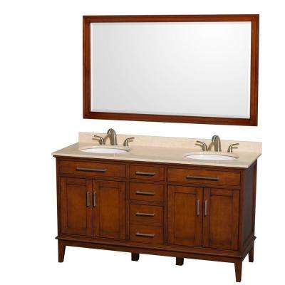 Hatton 60 in. Vanity in Light Chestnut with Marble Vanity Top in Ivory, Sink and 56 in. Mirror