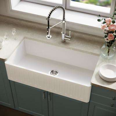 Matte Stone Farmhouse Composite 36 in. Single Bowl Kitchen Bar Sink with 1 Strainer in Matte White