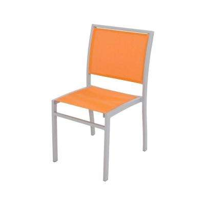 Bayline Textured Silver/Citrus Sling Patio Dining Side Chair