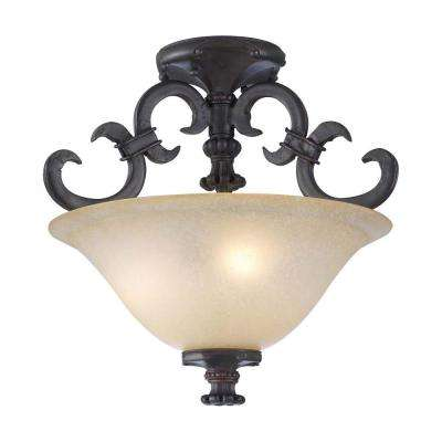 3-Light Oil-Rubbed Bronze Ceiling Flushmount with Antique Amber Glass