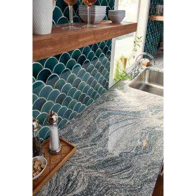Azul Scallop Glossy 13.11 in. x 9.96 in. x 8mm Glazed Ceramic Mesh-Mounted Mosaic Tile