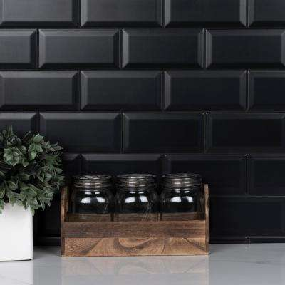 Crown Heights Beveled 3 in. x 6 in. Matte Black Ceramic Wall Tile (6.03 sq. ft. /Case)